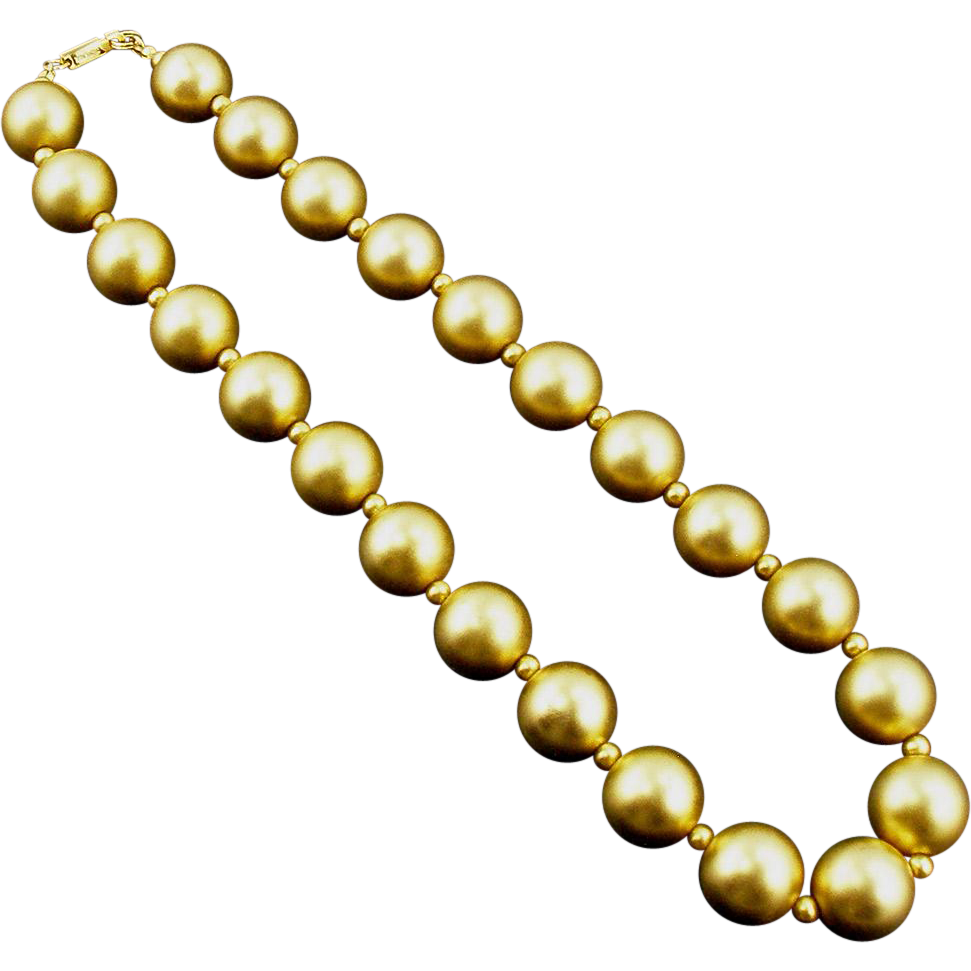 Vintage Matte Gold Tone Carol Dauplaise Beaded Necklace