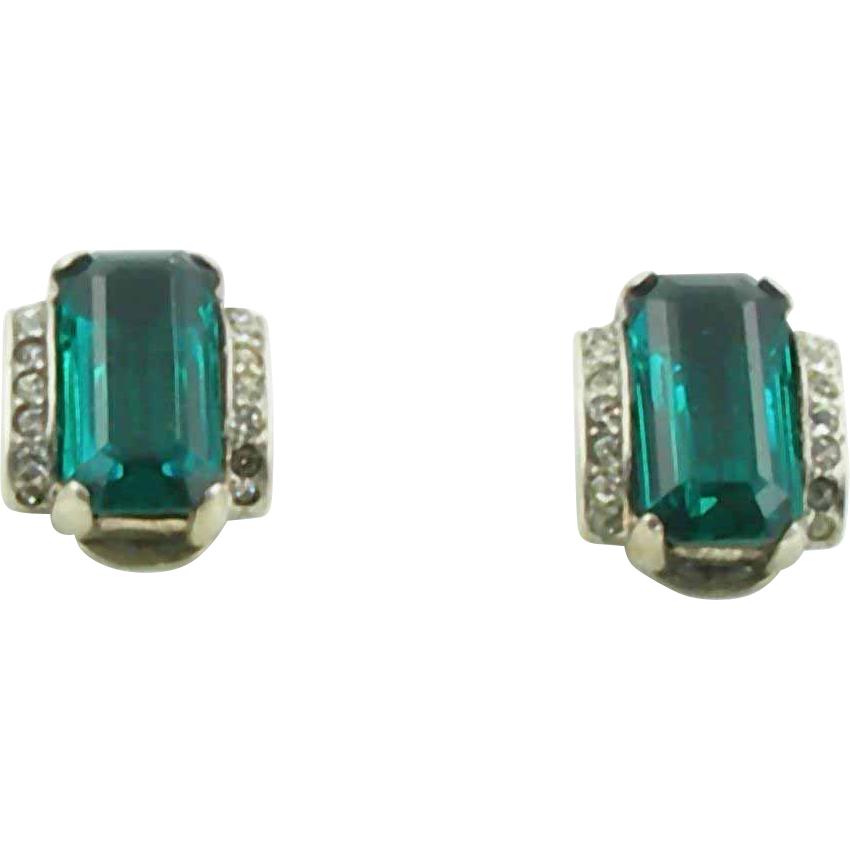 Vintage 1944 Trifari Sterling Faux Emerald Earrings