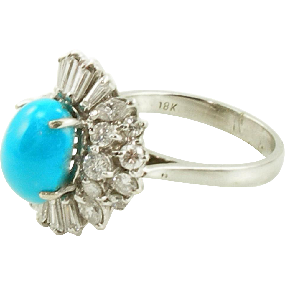 Vintage 18K White Gold Turquoise & Diamond Ring