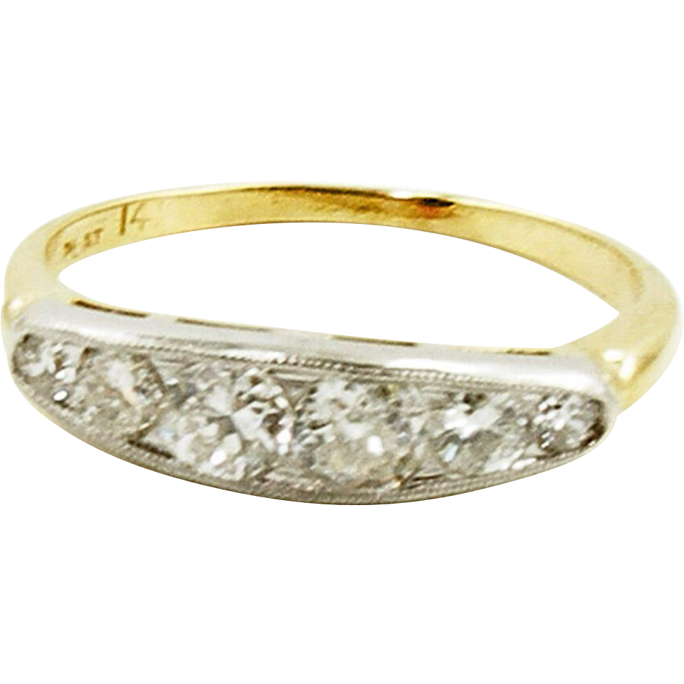 Vintage 1940's 14K & PLAT Diamond Band Size 5.5