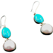 1980's Sterling Faux Pearl and Turquoise Pierced Earrings