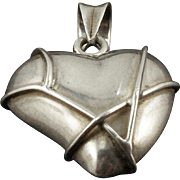 Vintage Sterling Stylized Puffy Heart Pendant