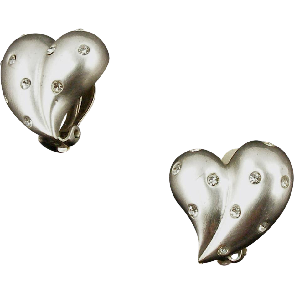 Signed Carolee Matte Silver Tone Stylized Heart Earrings