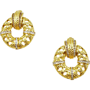 Vintage Swarovski Doorknocker Style Earrings