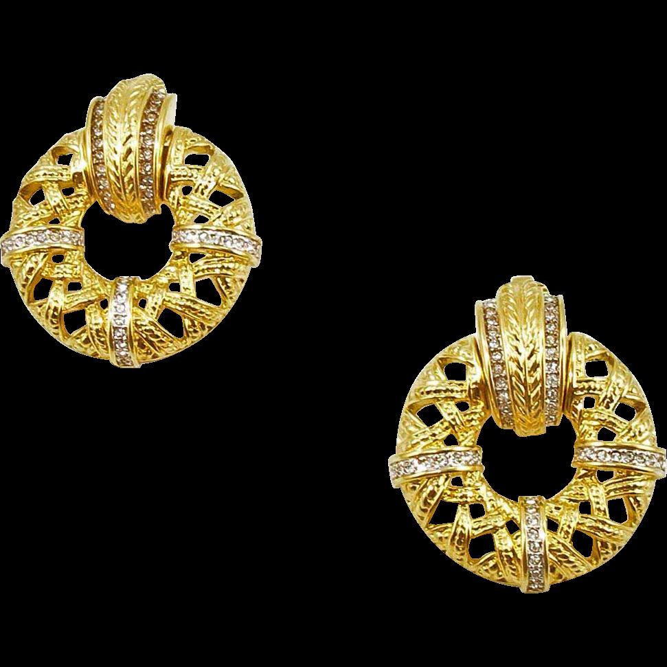 Vintage Swarovski Doorknocker Style Earrings