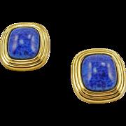 Vintage Signed Chr.Dior Faux Lapis Clip Earrings