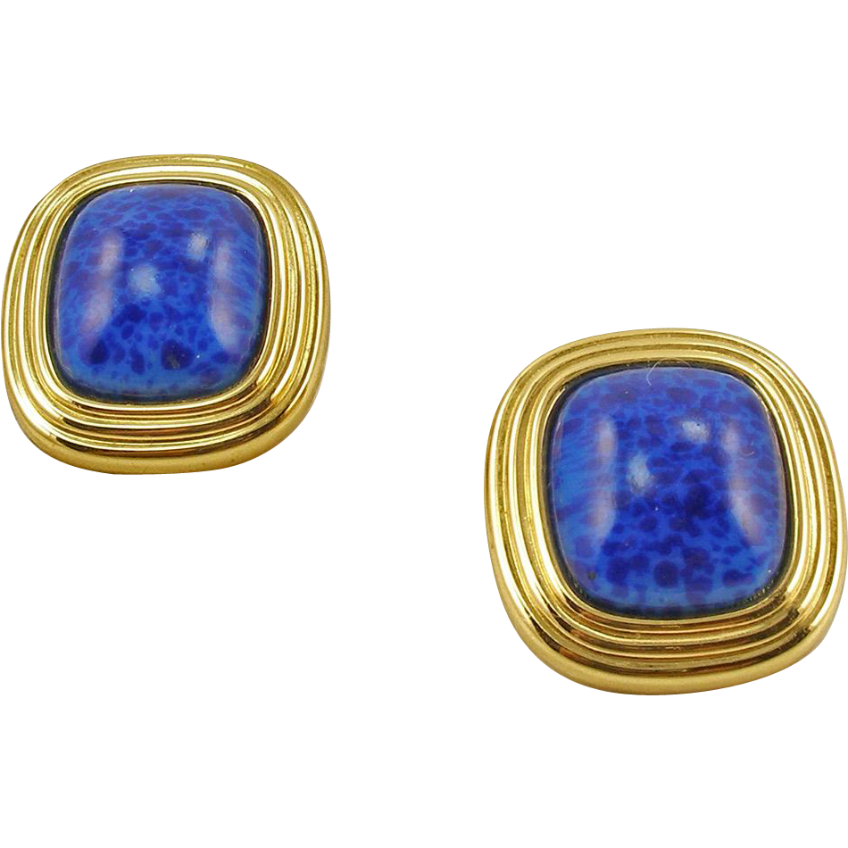 Vintage Signed Chr.Dior Faux Lapis Clip Earrings
