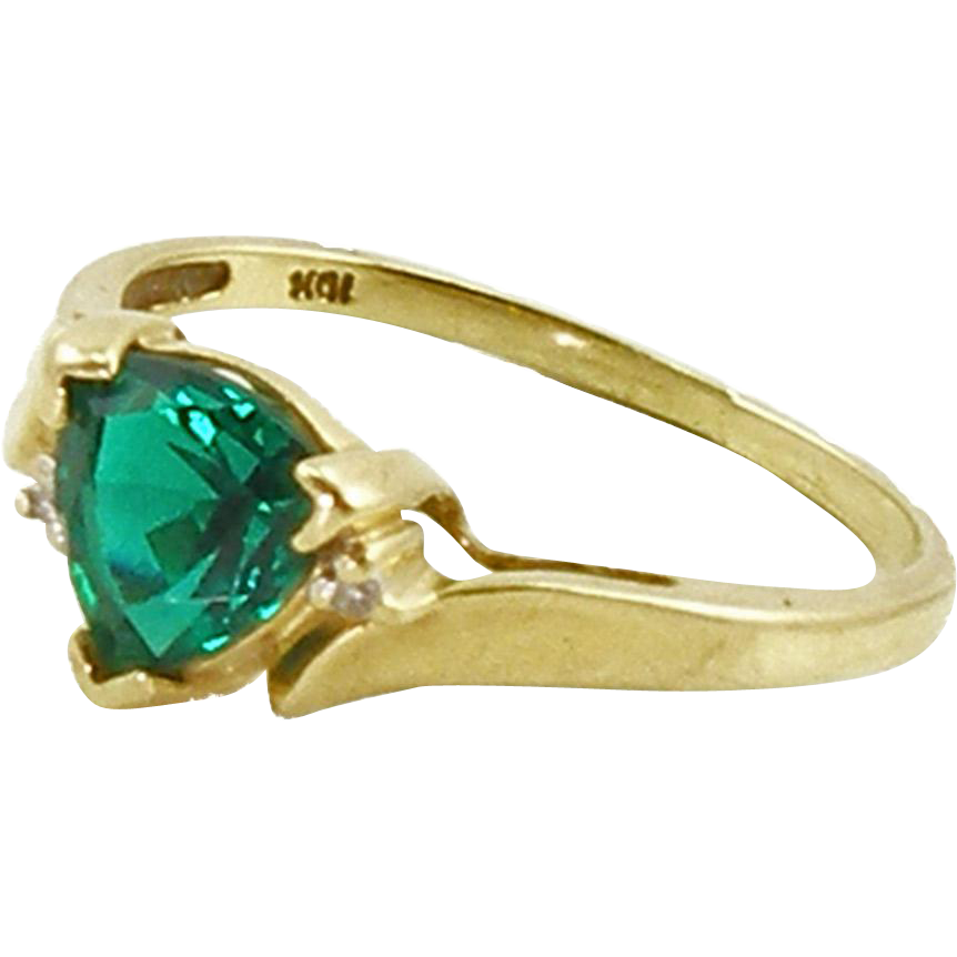 Vintage 10K Lab Created Emerald Ring Size 6