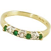14K Diamond and Emerald Band by Cardow