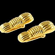 Vintage Ribbed Gold Tone Fendi Earrings