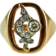 Vintage 18K Diamond Shriners Fraternal Ring