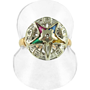 Antique 14K Eastern Star Ring with Diamonds