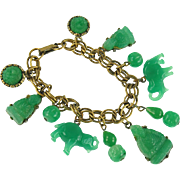 Vintage Faux Jade Asian Themed Charm Bracelet