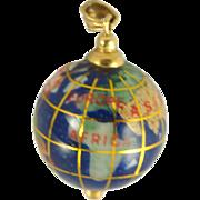 Vintage 14K Globe Charm or Pendant with Semi Precious Stones