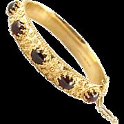 Vintage Etruscan Style Garnet Hinged Bangle Bracelet