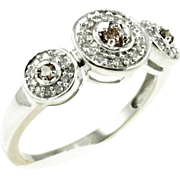 Vintage 10K White Gold Champagne & White Diamond Ring
