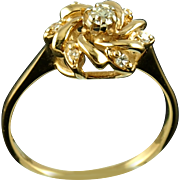 Vintage 14K Floral Diamond Ring