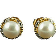 Vintage 14K Mabe Pearl Pierced Earrings