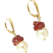 Vintage 14K Cultured Pearl & Garnet Lever Back Earrings