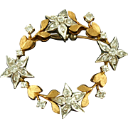 Vintage 14K Floral Circle Pin with Diamonds