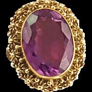 Vintage 14K Etruscan Revival Amethyst Ring
