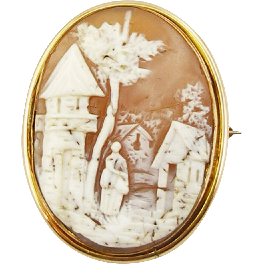 Antique Edwardian14K Rebecca at the Well Cameo Brooch