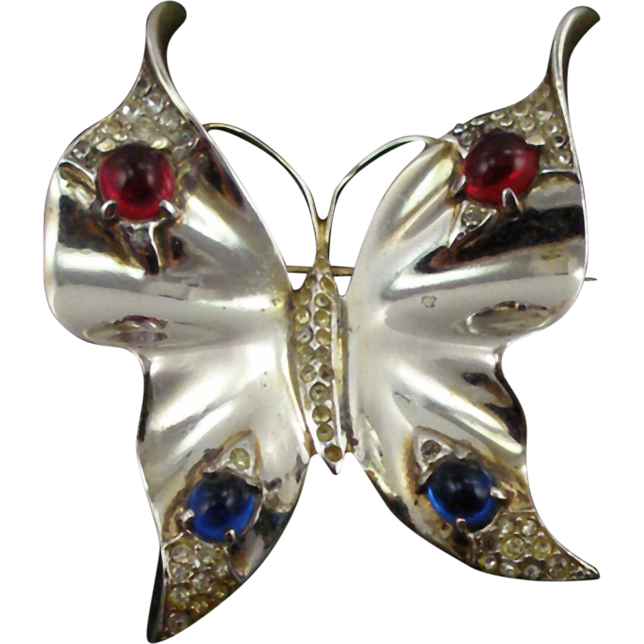Vintage Trifari Sterling Jeweled Butterfly Pin