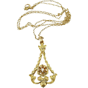 Vintage 14K Diamond Lavaliere on 10K Chain
