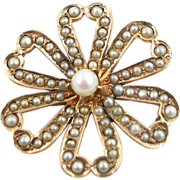 Petite Antique 14K Cultured Seed Pearl Flower Pendant