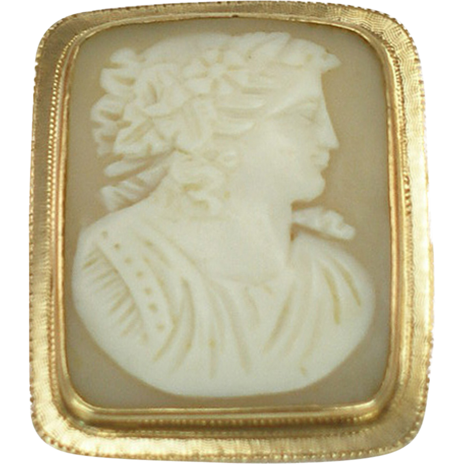 Vintage 14K Shell Cameo Brooch or Pendant
