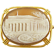 Vintage Gold Filled Architectural Shell Cameo Pin