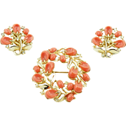 Vintage Trifari Coral Colored Pebble Beach Pin & Earrings Set