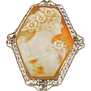 Vintage 14K Six Sided Cameo Pin or Pendant