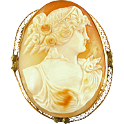 Antique14K Shell Cameo Pin or Pendant