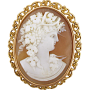 Antique 14K Bacchante Shell Cameo Pin