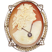 Vintage 14K gold shell cameo habille brooch or pendant