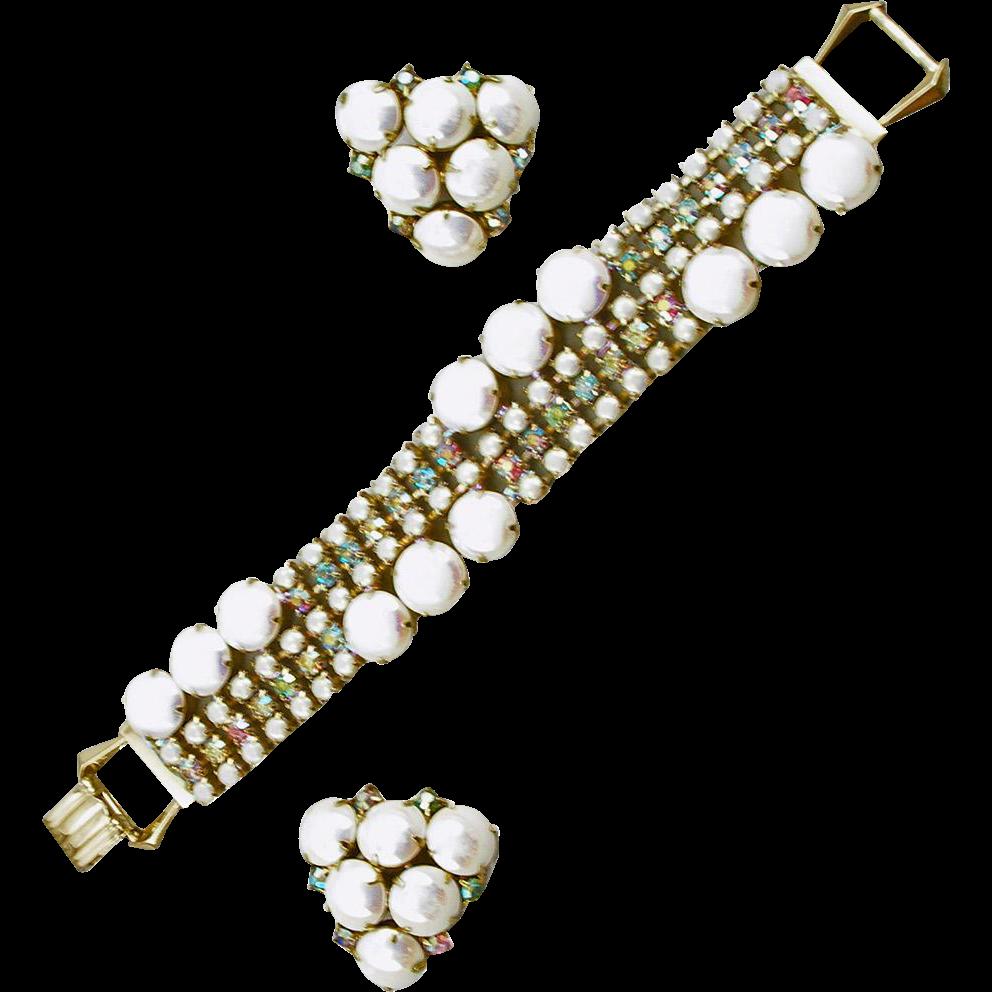 Vintage White Aurora Borealis Cabochon Bracelet and Earrings Set