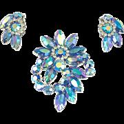 Vintage Unsigned Blue Aurora Borealis Pin & Earrings Set