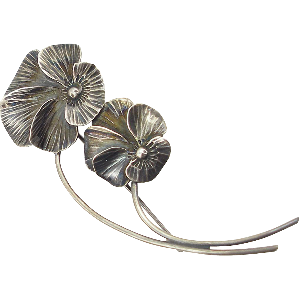 Vintage NYE Sterling Large Double Pansy Pin