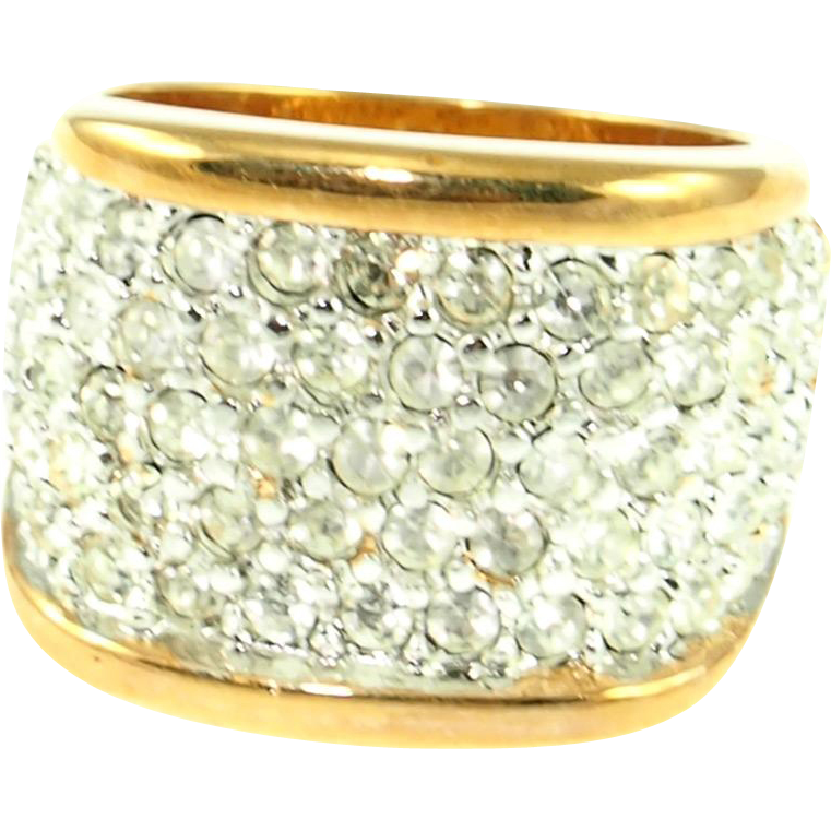 Vintage 18K Gold Electroplate Fake Diamond Ring