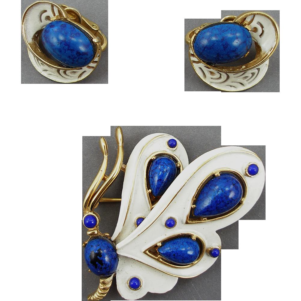 Vintage Trifari Designer Butterfly Set