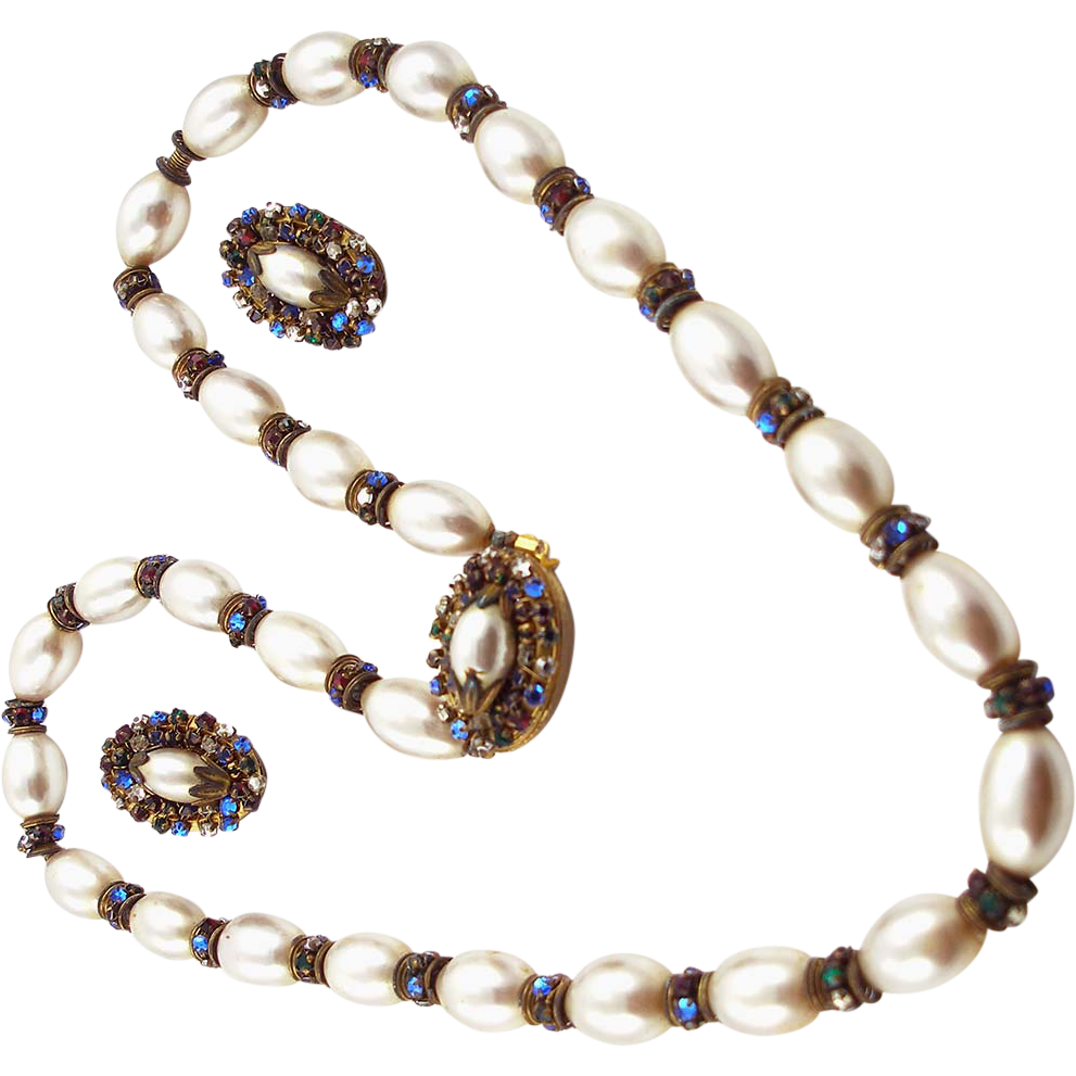 Vintage Signed Miriam Haskell Smooth Faux Pearl Demi Parure