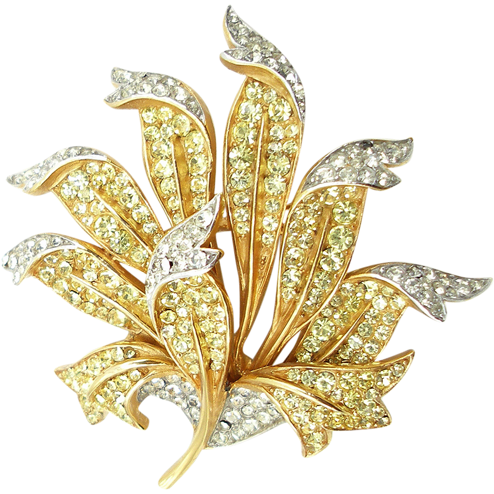 Vintage Trifari Yellow Floral Designer Pin
