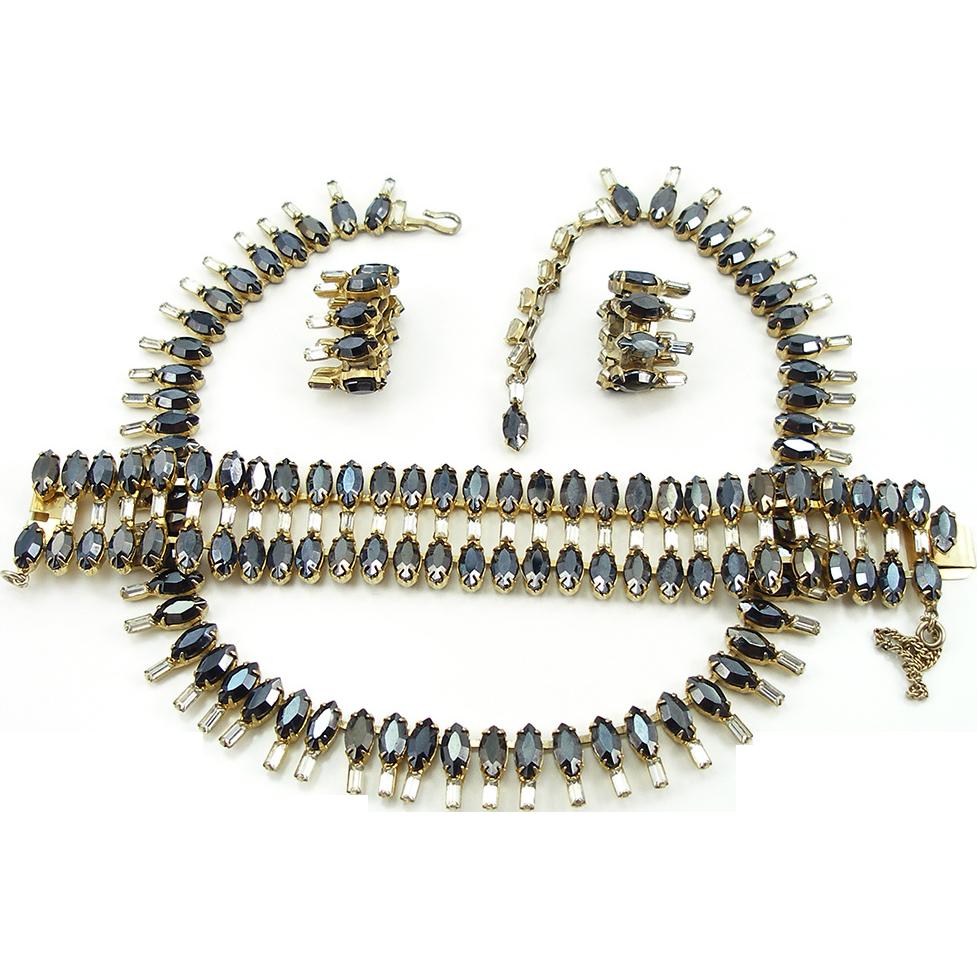 Vintage Denbé Hematite and Crystal Designer Parure