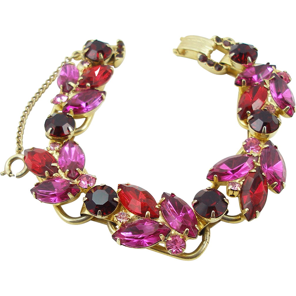 Vintage DeLizza and Elster Juliana Fuchsia and Red Bracelet