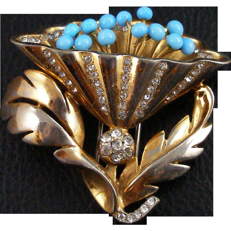 Vintage Signed DEJA Golden Flower Clip