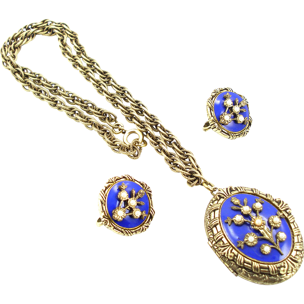Vintage Signed Trifari Enameled Locket Necklace and Earrings