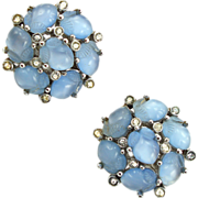 Vintage Signed Trifari Blue Fruit Salad Earrings