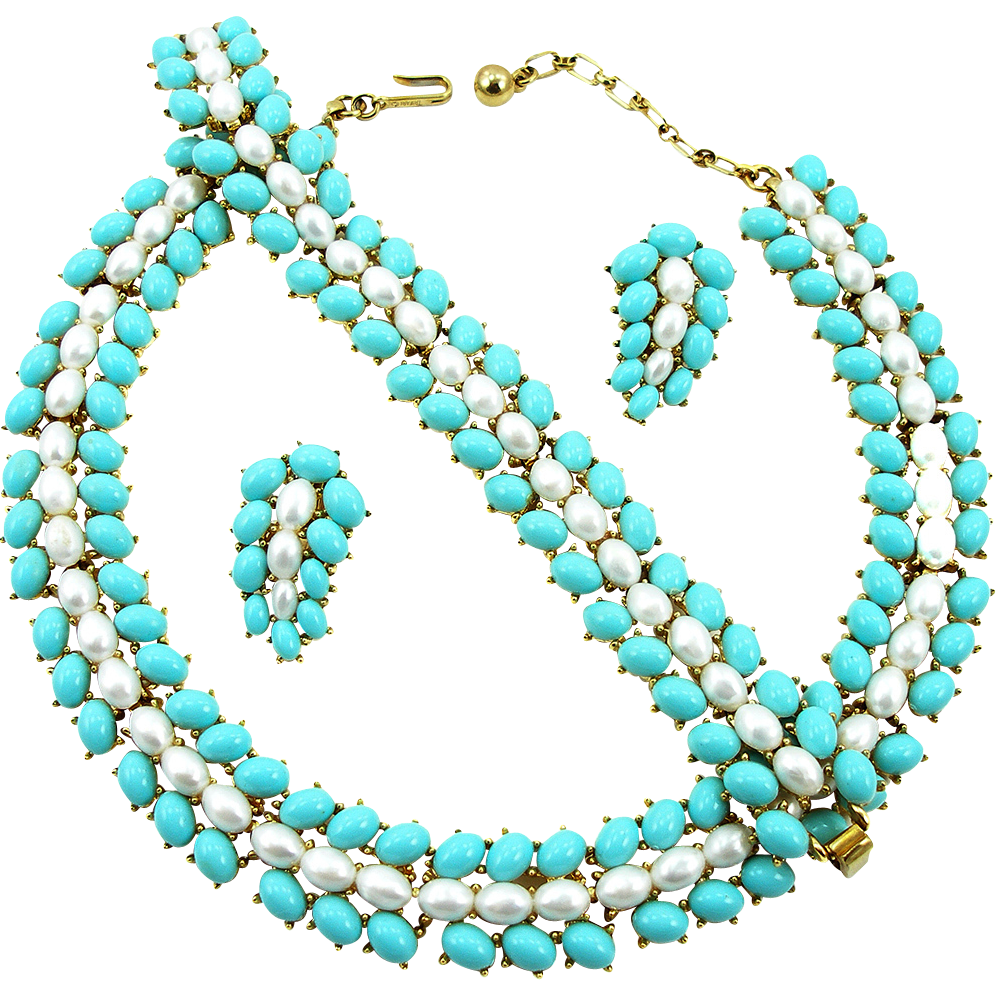 Vintage Trifari Faux Turquoise and Pearl Designer Parure