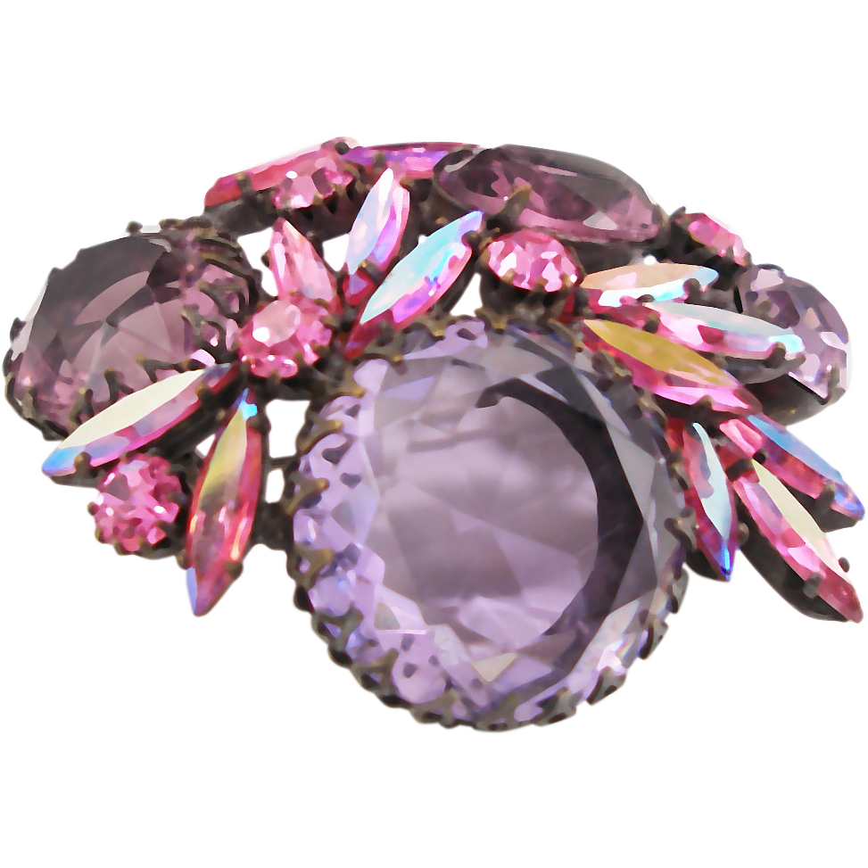 Vintage Regency pink & purple glass stones brooch